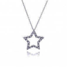 **Closeout** Sterling Silver Clear CZ Rhodium Plated Star Pendant Necklace - STP00241