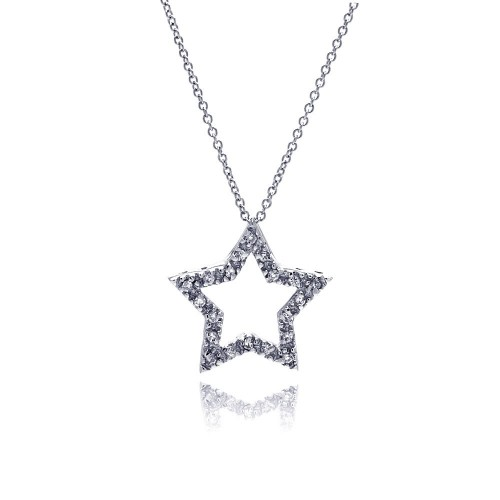 **Closeout** Wholesale Sterling Silver 925 Clear CZ Rhodium Plated Star Pendant Necklace - STP00241