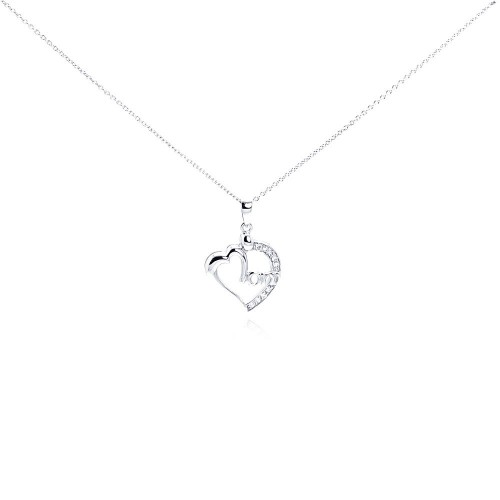 Wholesale Sterling Silver 925 Clear CZ Rhodium Plated Mom Heart Pendant Necklace - STP00242