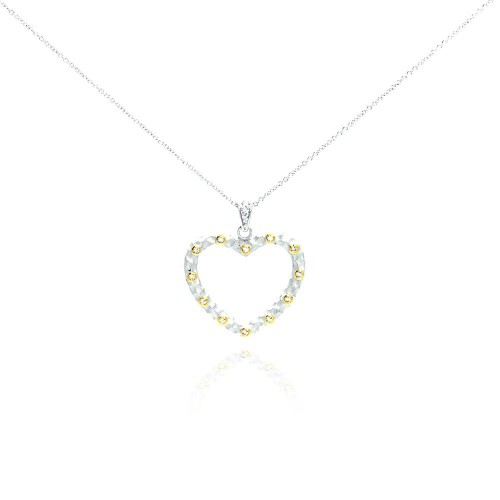 **Closeout** Wholesale Sterling Silver 925 Yellow CZ Rhodium Plated Heart Pendant Necklace - STP00243