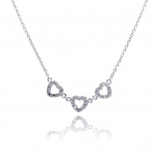 **Closeout** Sterling Silver Clear CZ Rhodium Plated 3 Hearts Pendant Necklace - STP00245