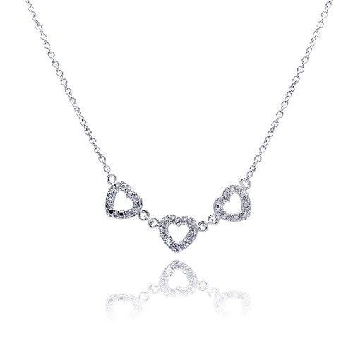 **Closeout** Wholesale Sterling Silver 925 Clear CZ Rhodium Plated 3 Hearts Pendant Necklace - STP00245
