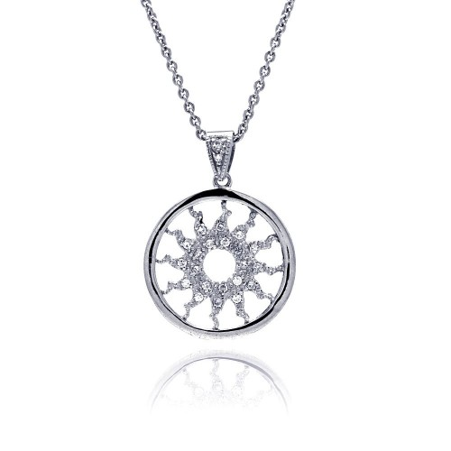 -Closeout- Wholesale Sterling Silver 925 Clear CZ Rhodium Plated Solar Pendant Necklace - STP00248