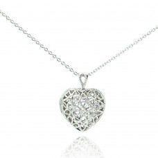 Sterling Silver Clear CZ Rhodium Plated Heart Locket Pendant Necklace - STP00251