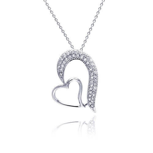 Wholesale Sterling Silver 925 Clear CZ Rhodium Plated Fancy Hearts Pendant Necklace - STP00256
