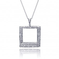 **Closeout** Sterling Silver Clear CZ Rhodium Plated Open Square Pendant Necklace - STP00257