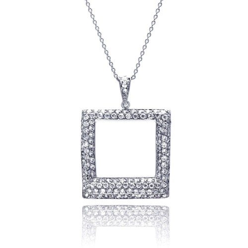 **Closeout** Wholesale Sterling Silver 925 Clear CZ Rhodium Plated Open Square Pendant Necklace - STP00257