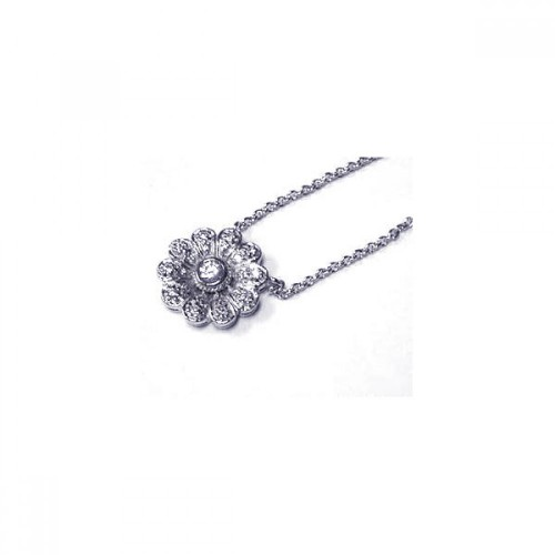 Wholesale Sterling Silver 925 Clear CZ Rhodium Plated Floral Pendant Necklace - STP00261