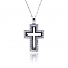 **Closeout** Sterling Silver Clear Black CZ Rhodium Plated Cutout Cross Pendant Necklace - STP00263