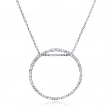 **Closeout** Sterling Silver Rhodium Plated Circle Pendant Necklace with CZ - STP00264