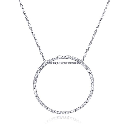 **Closeout** Wholesale Sterling Silver 925 Rhodium Plated Circle Pendant Necklace with CZ - STP00264