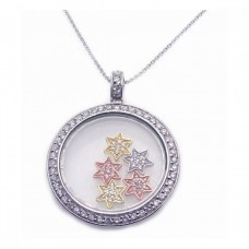 Sterling Silver Tri-Color CZ Rhodium Plated Circle Stars Pendant Necklace - STP00266