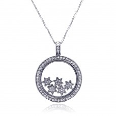 Sterling Silver Clear CZ Rhodium Plated Inner Stars Pendant Necklace - STP00266