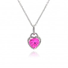 Sterling Silver Clear Pink CZ Rhodium Plated Heart Pendant Necklace - STP00269