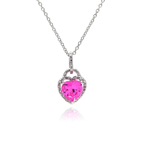 Wholesale Sterling Silver 925 Clear Pink CZ Rhodium Plated Heart Pendant Necklace - STP00269