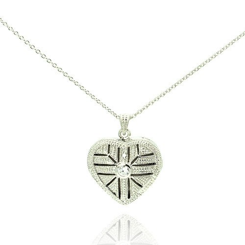 Wholesale Sterling Silver 925 Rhodium Plated Heart Locket Necklace - STP00274