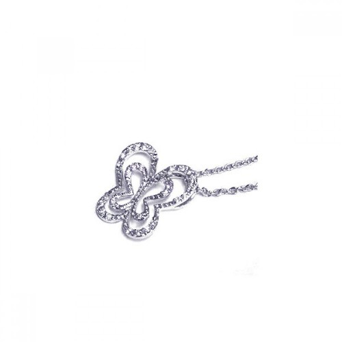 Wholesale Sterling Silver 925 Clear CZ Rhodium Plated Cutout Butterfly Pendant Necklace - STP00287