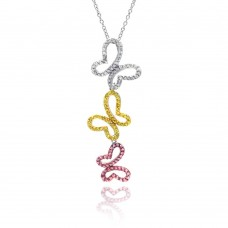 -Closeout- Wholesale Sterling Silver 925 Tri Color CZ Rhodium Plated Butterfly Pendant Necklace - STP00294