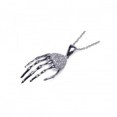 **Closeout** Sterling Silver Clear CZ Rhodium Plated Skeleton Hand Pendant Necklace - STP00307