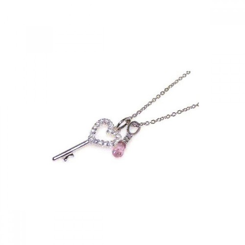 Wholesale Sterling Silver 925 Clear Pink CZ Rhodium Plated Heart Key Pendant Necklace - STP00311