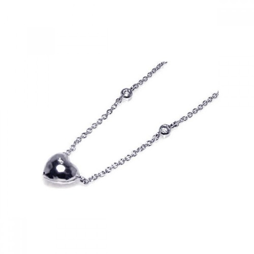 Wholesale Sterling Silver 925 Rhodium Plated Heart Pendant Necklace - STP00326