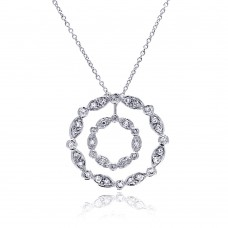 **Closeout** Sterling Silver Clear CZ Rhodium Plated Double Circle Pendant Necklace - STP00357
