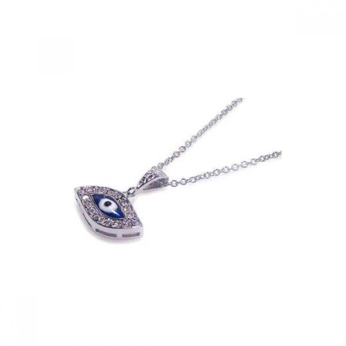 Wholesale Sterling Silver 925 Clear CZ Rhodium Plated Evil Eye Pendant Necklace - STP00367