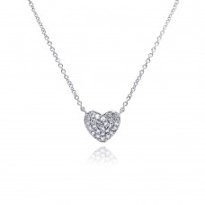Sterling Silver Clear CZ Rhodium Plated Heart Encrusted Pendant Necklace stp00376