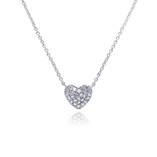 Wholesale Sterling Silver 925 Clear CZ Rhodium Plated Heart Encrusted Pendant Necklace - STP00376