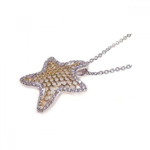 Wholesale Sterling Silver 925 Clear CZ Rhodium Plated Multi Hole Star Pendant Necklace - STP00377