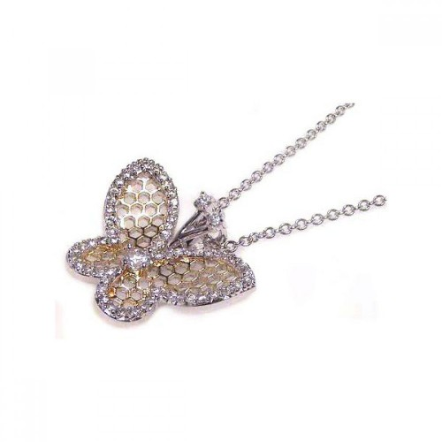 -Closeout- Wholesale Sterling Silver 925 Clear CZ Rhodium Plated Multi Hole Butterfly Pendant Necklace - STP00378