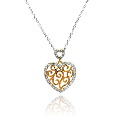 -Closeout- Wholesale Sterling Silver 925 Clear CZ Rhodium Plated Heart Cutout Accent Pendant Necklace - STP00380
