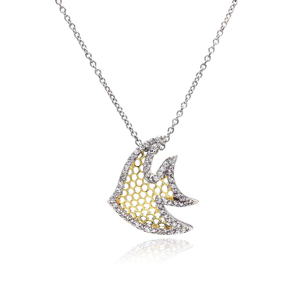 Wholesale Sterling Silver 925 Clear CZ Rhodium Plated Multi Hole Fish Pendant Necklace - STP00382