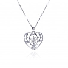 **Closeout** Sterling Silver Clear CZ Rhodium Plated Heart Leaf Accent Pendant Necklace - STP00385