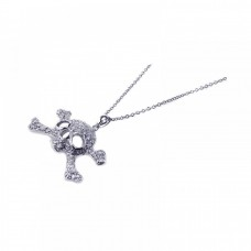 Sterling Silver Clear CZ Rhodium Plated Skull Pendant Necklace - STP00395