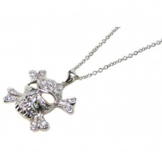 Sterling Silver Clear CZ Black Rhodium Plated Skull Pendant Necklace - STP00396