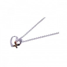 **Closeout** Sterling Silver Clear CZ Rhodium Plated Heart Butterfly Accent Pendant Necklace - STP00400