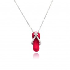 Sterling Silver Clear CZ Rhodium Plated Pink Colored Flip Flop Pendant Necklace - STP00402PNK