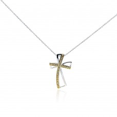 **Closeout** Sterling Silver Clear CZ Rhodium Plated Gold Plated Cross Pendant Necklace - STP00405