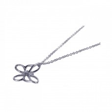Sterling Silver Rhodium Plated Open Butterfly Pendant Necklace - STP00406