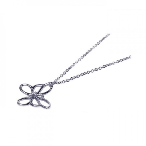 Wholesale Sterling Silver 925 Rhodium Plated Open Butterfly Pendant Necklace - STP00406