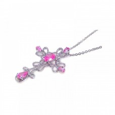 **Closeout** Sterling Silver Clear CZ Rhodium Plated Cross Pink Stone Inlay Pendant Necklace - STP00409