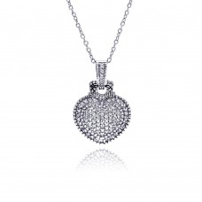 **Closeout** Sterling Silver Clear CZ Rhodium Plated Heart Encrusted Pendant Necklace - STP00410