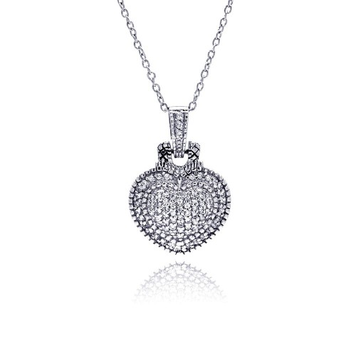-Closeout- Wholesale Sterling Silver 925 Clear CZ Rhodium Plated Heart Encrusted Pendant Necklace - STP00410