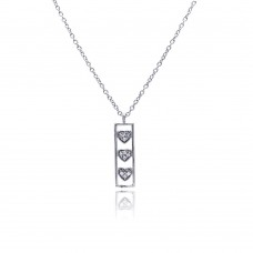 Sterling Silver Clear CZ Rhodium Plated Bar Trio Hearts Pendant Necklace - STP00411