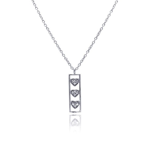 Wholesale Sterling Silver 925 Clear CZ Rhodium Plated Bar Trio Hearts Pendant Necklace - STP00411