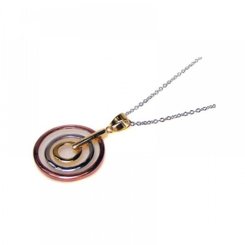 **Closeout** Wholesale Sterling Silver 925 Tri Color Rhodium Plated Circular Pendant Necklace - STP00413