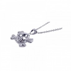 **Closeout** Sterling Silver Clear CZ Rhodium Plated X Skull Pendant Necklace - STP00414