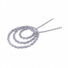 **Closeout** Sterling Silver Clear CZ Rhodium Plated Trio Open Circle Pendant Necklace - STP00415