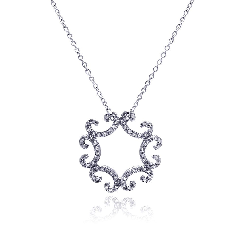 **Closeout** Wholesale Sterling Silver 925 Clear CZ Rhodium Plated Curve Pattern Pendant Necklace - STP00419